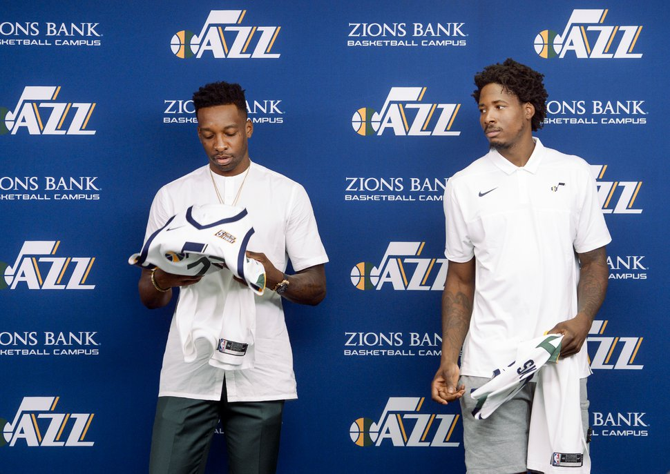 (Leah Hogsten | The Salt Lake Tribune) l-r The Utah JazzÕs newest members, forward Jeff Green and forward/center Ed Davis hold their new jerseys, Friday, July 26, 2019 at the Jazz basketball facility.
