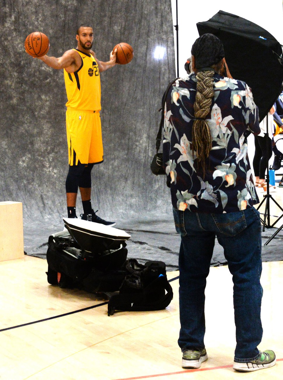 (Rick Egan | The Salt Lake Tribune) Rudy Gobert, poses for Rick Bowmer from the Associated Press, during the Utah Jazz annual Media Day photo shoot, Monday, Sept. 24, 2018.