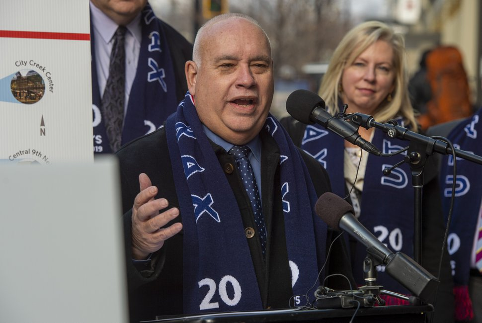 (Rick Egan | The Salt Lake Tribune) Murray Mayor Blair Camp speaks as officials celebrate the 20th anniversary of TRAX trains during a news conference at the City Creek TRAX stop on Main Street in Salt Lake City, Wednesday, Dec. 4, 2019.