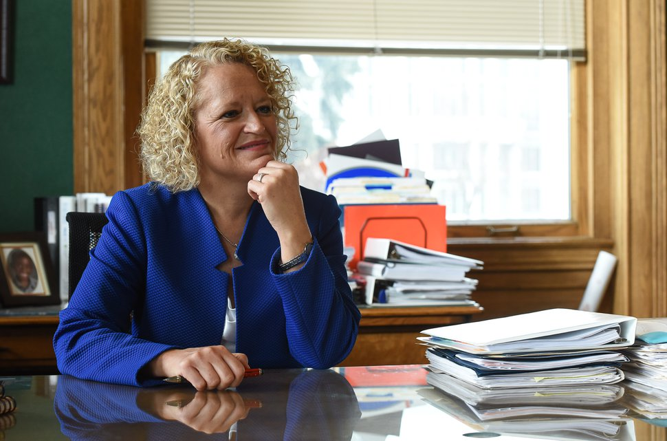 (Francisco Kjolseth | The Salt Lake Tribune) Salt Lake City Mayor Jackie Biskupski reflects on the past year and looks ahead during a sit down interview in her office at the Salt Lake City and County Building on Wednesday, Dec. 20, 2017.