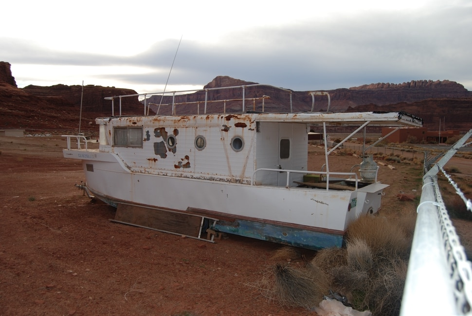 (Brian Maffly | The Salt Lake Tribune) An old boat at the Hite Marina on Lake Powell in Utah. Nov. 28, 2018.
