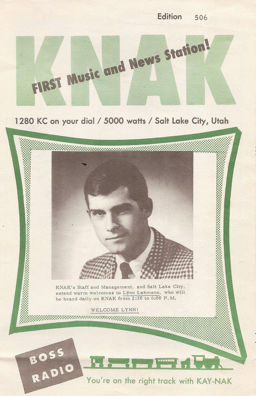 | Courtesy Lynn Lehmann on KNAK radio tune chart in the 1960s.