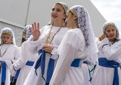 (Leah Hogsten | Tribune file photo) The Olympian Dancers perform at the 42nd Annual Greek Festival on the grounds of the Holy Trinity Cathedral Greek Orthodox Church. The three-day festival offers a wide variety of food and pastries, Greek musicians and dance performances.