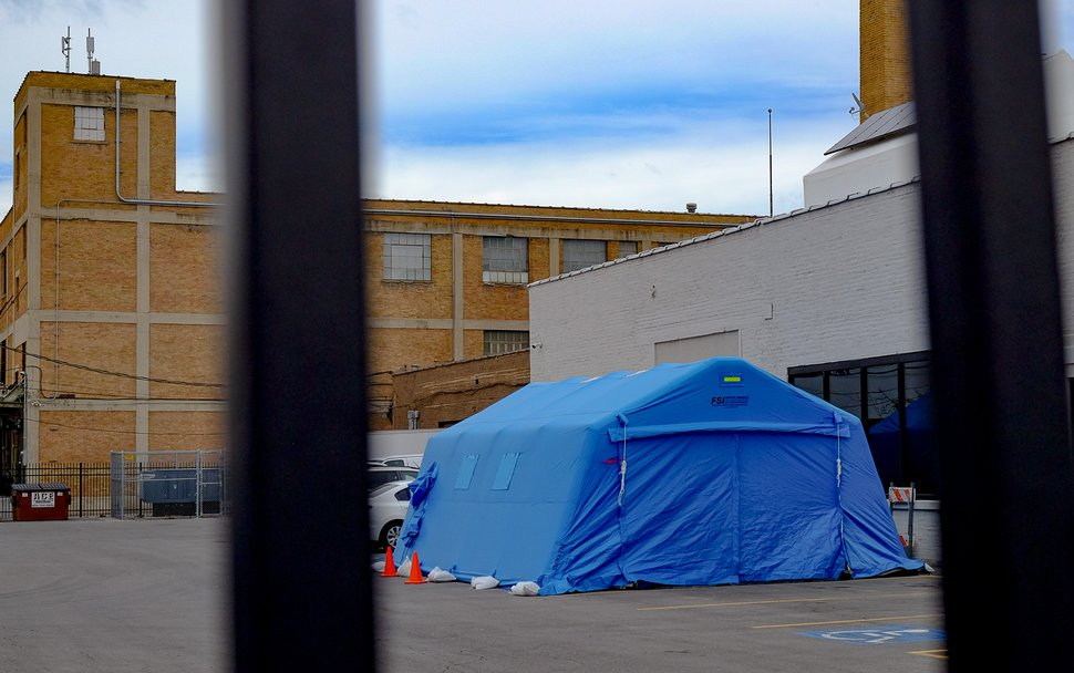 (Francisco Kjolseth | Tribune file photo) The Fourth Street Clinic in Salt Lake City added a triage tent next to its building as a precaution against the coronavirus.