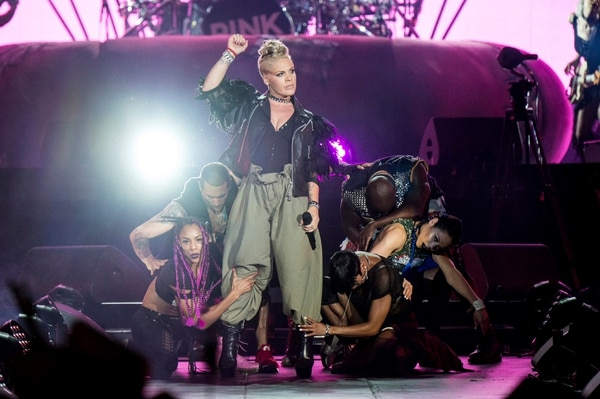 In this July 8, 2017 file photo, Pink performs during the Festival d'ete de Quebec in Quebec City, Canada. Her tour is coming to Salt Lake City on May 9. (Photo by Amy Harris/Invision/AP, File)