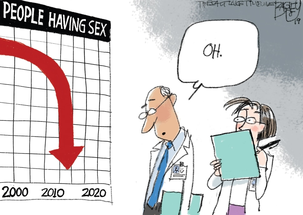 (Pat Bagley | The Salt Lake Tribune) This Pat Bagley cartoon, titled Troubling Downturn, appears in The Salt Lake Tribune on Tuesday, April 2, 2019.