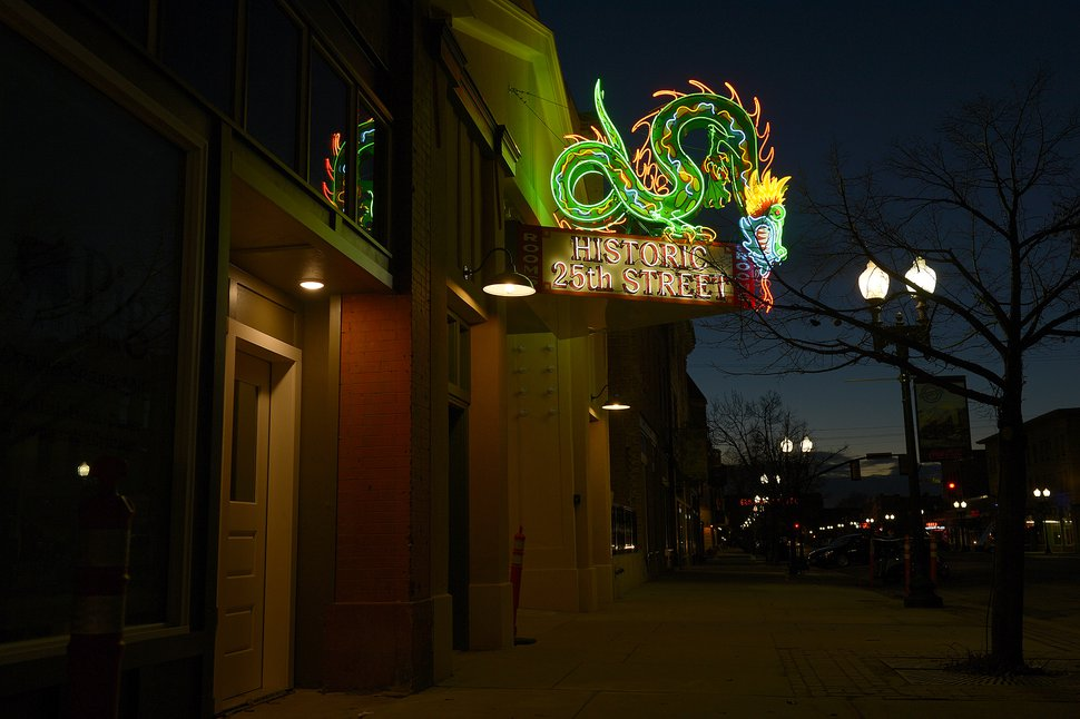 Leah Hogsten | The Salt Lake Tribune The neon dragon sign that hung at the Star Noodle restaurant in Ogden for decades has been completely refurbished and was re-hung on Friday. The former Star Noodle dragon sign stood watch over 25th Street in Ogden, Utah, for more than five decades and is a recognizable icon to longtime Ogden residents as well as visitors. In 2008, the sign was taken down for the purpose of renovation. The sign is the original design built by YESCO in the 1950s with 250 feet of neon and 58 smaller lights. YESCO was contracted to refurbish the sign and the entire structure was completely sanded down to the original structure and meticulously refurbished to its original glory.