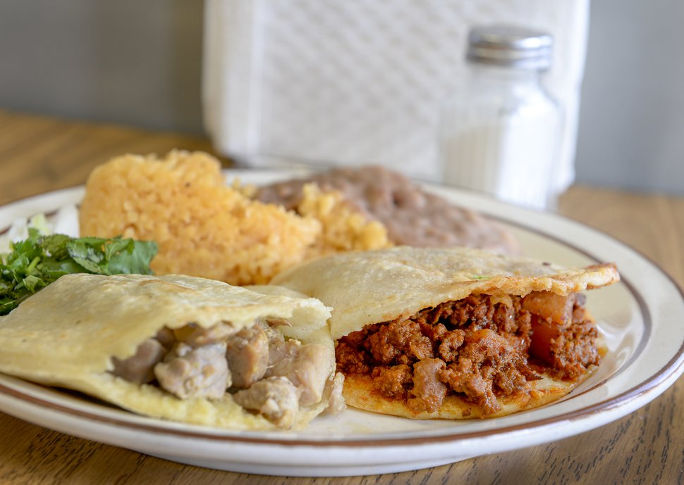 Leah Hogsten | The Salt Lake Tribune The #2 combination at Taqueria Los Lee includes a carne y papa gordita and a green pork gordita.