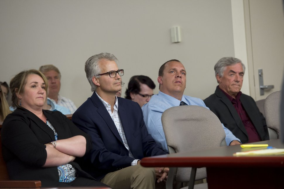 (Jeremy Harmon | The Salt Lake Tribune) UEP board members Shirlee Draper, Arnold Richter, Jeff Barlow and Don Timpson listen during a UEP hearing in Salt Lake City on Tuesday, June 18, 2019.