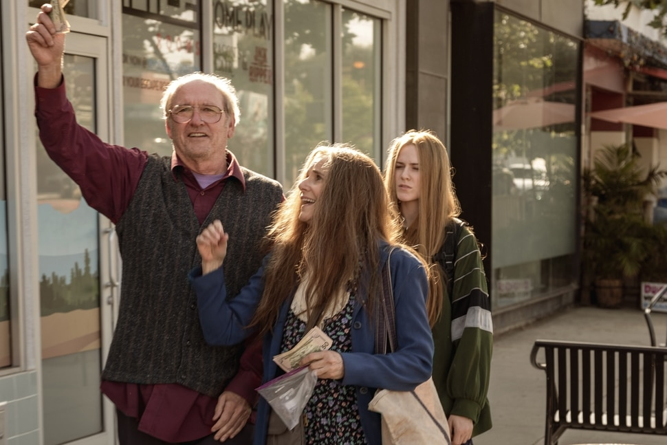 (Matt Kennedy | Focus Features) A family of con artists — Robert (Richard Jenkins), Theresa (Debra Winger), and their daughter Old Dolio (Evan Rachel Wood) — are the characters in director Miranda July's film Kajillionaire.