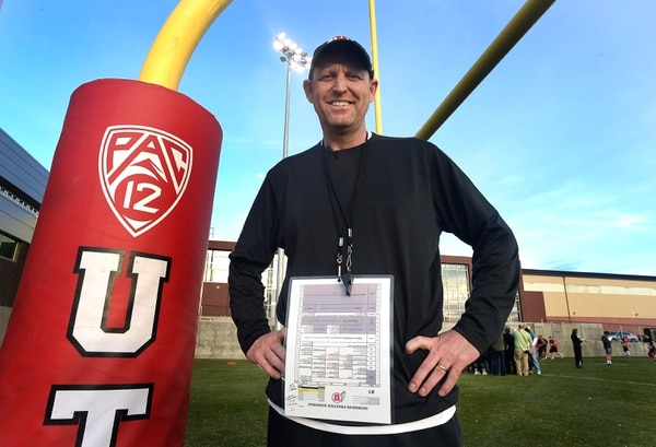Scott Sommerdorf   The Salt Lake Tribune New offensive coordinator Troy Taylor poses for a portrait after Utah football practice, Thursday, March 9, 2017.