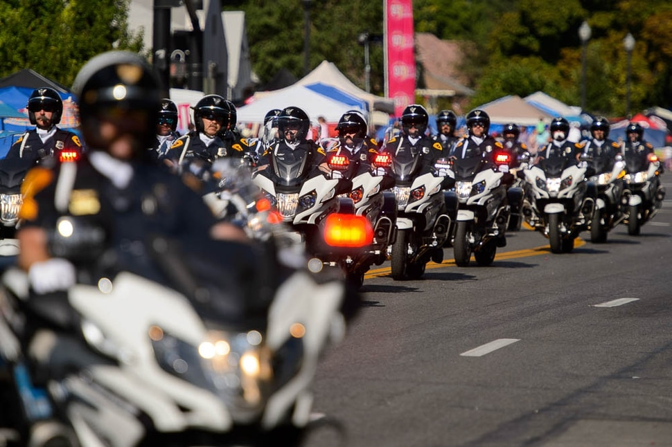 (Trent Nelson | The Salt Lake Tribune) The Days of '47 Parade in Salt Lake City, Tuesday July 24, 2018. The Salt Lake Police Motor Squad.