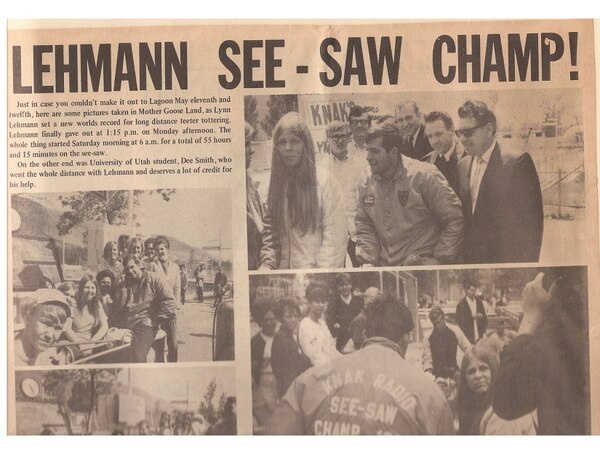 | Courtesy Lynn Lehmann was involved in many funny promotions in his time at KCPX, including trying to set a record on a teeter toter.