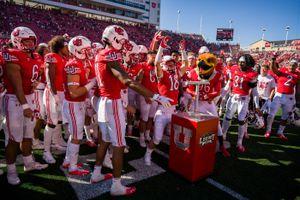 (Trent Nelson  |  The Salt Lake Tribune) Utah Utes wide receiver Britain Covey (18) and teammates celebrate as the University of Utah hosts Washington State, NCAA football in Salt Lake City on Saturday, Sept. 25, 2021.