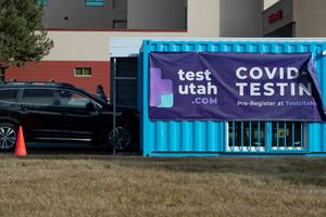(Francisco Kjolseth  | The Salt Lake Tribune)  Nomi Health runs TestUtah coronavirus testing sites under contracts with the state, including this one at 800 North in Orem on Saturday, Feb. 6, 2021. Nomi Health does not ask test seekers whether they have insurance, which means shifts costs from private insurance to taxpayers and forces the state to spend COVID-19 relief dollars on some expenses that other dedicated government funding, such as Medicaid, would cover.