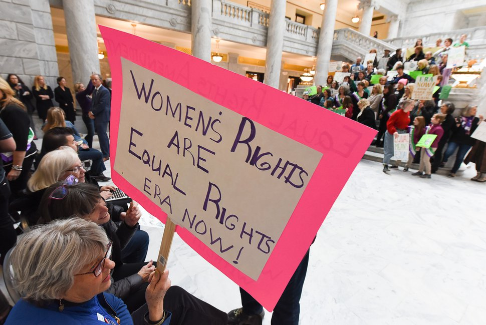 (Francisco Kjolseth | The Salt Lake Tribune) Supporters of the Equal Rights Amendment rally at the Utah Capitol on Tuesday, Dec. 3, 2019, to encourage Utah to ratify the ERA.