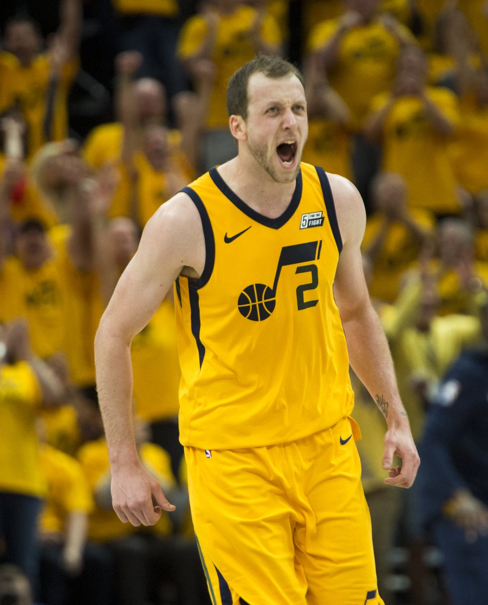 (Rick Egan | The Salt Lake Tribune) Utah Jazz forward Joe Ingles (2) reacts after tying the game 39-39 with a 3-point-shot in the second quarter, in NBA game 6 playoff action between Utah Jazz and Oklahoma City Thunder in Salt Lake City, Friday, April 27, 2018.