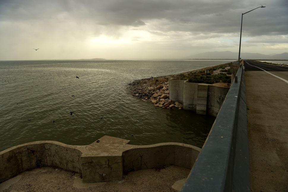 (Leah Hogsten | The Salt Lake Tribune) Antelope Island's seven-mile causeway, May 19, 2020.