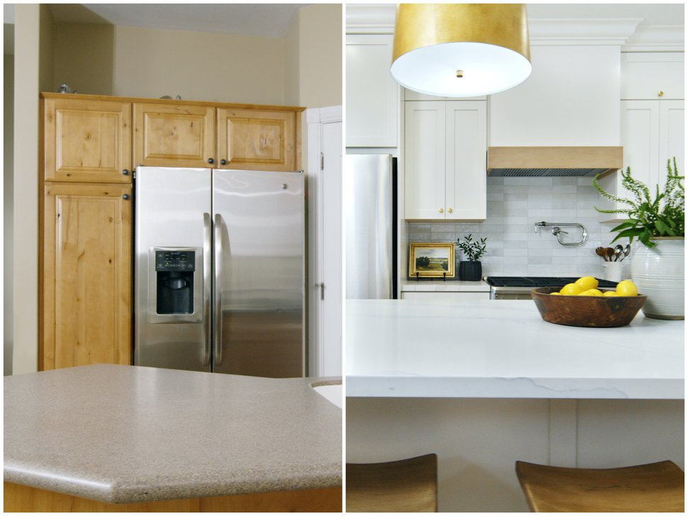 (Photo courtesy of Netflix) Before and after photos of a kitchen Shea McGee designed in