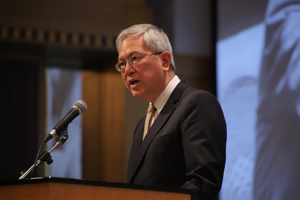 (Photo courtesy of The Church of Jesus Christ of Latter-day Saints) Apostle Gerrit W. Gong speaks at the sixth annual G20 Interfaith Forum in Japan on June 8, 2019.