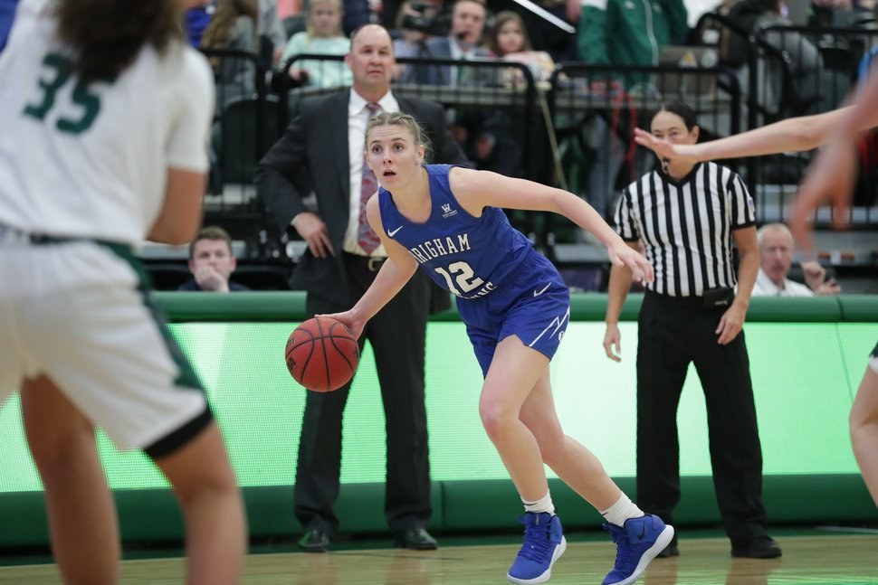 (Photo courtesy of Jaren Wilkey, BYU photo) BYU guard Caitlyn Alldredge, pictured here in a game at Saint Mary's on Jan. 12, 2019, is using her final season of eligibility to play basketball after starring for BYU's softball team for four seasons.