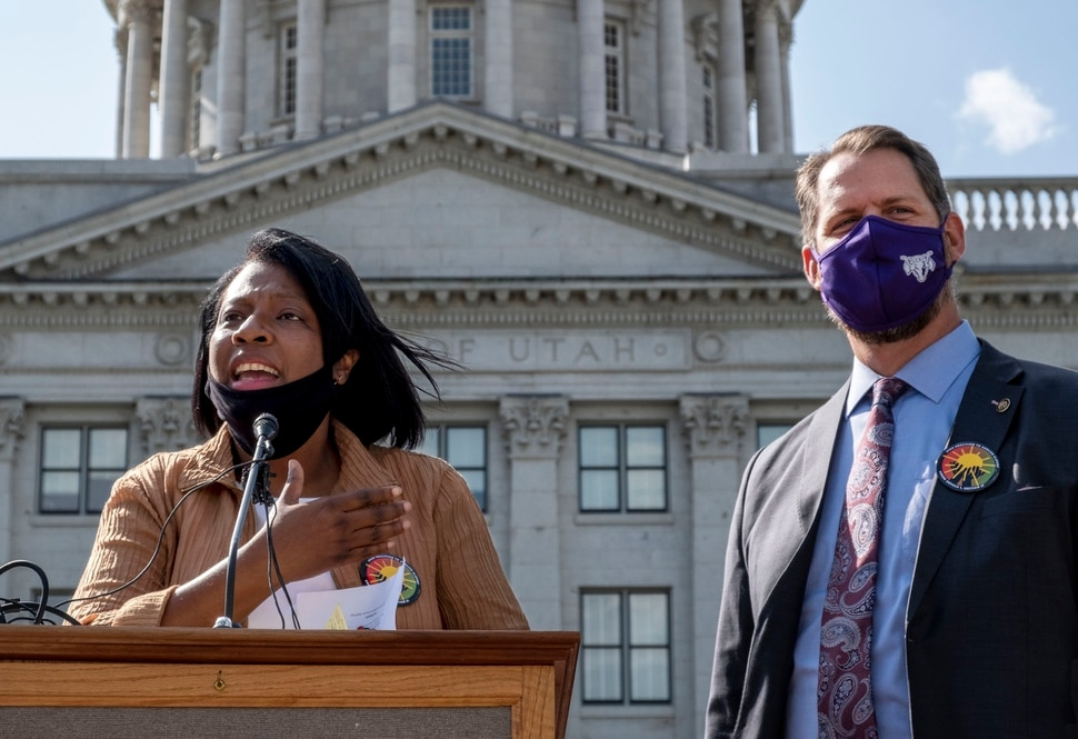 (Leah Hogsten | The Salt Lake Tribune) This is about righting a wrong, said Rep. Sandra Hollins, D-Salt Lake City, who persuaded lawmakers to unanimously approve putting Amendment C on the ballot along with Senate sponsor Sen. Jake Andergg, R-Lehi, right. The Utah Coalition to Abolish Slavery kicked off its campaign for Amendment C to remove old wording in the state constitution that they say still allows slavery as a punishment for crime.Utah Coalition to Abolish Slavery will formally kick off its campaign for Amendment C. Public officials, religious leaders, and historians will speak to the significance of removing slavery and involuntary servitude from the Utah Constitution.