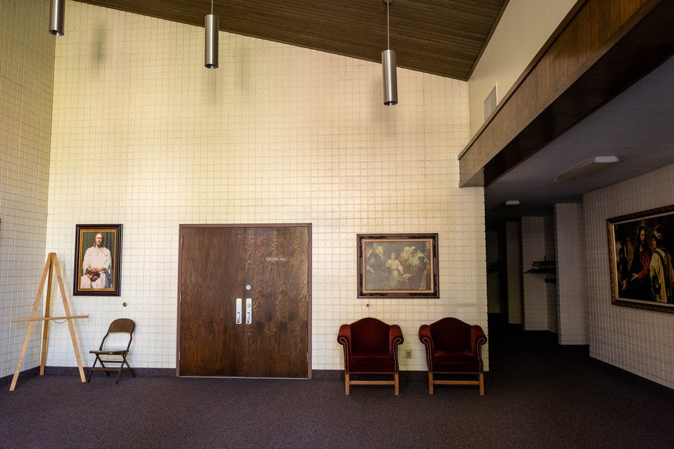 (Trent Nelson | The Salt Lake Tribune) The foyer of a Latter-day Saint chapel in Salt Lake City on Tuesday, April 21, 2020. Services at meetinghouses have been suspended due to the coronavirus pandemic.