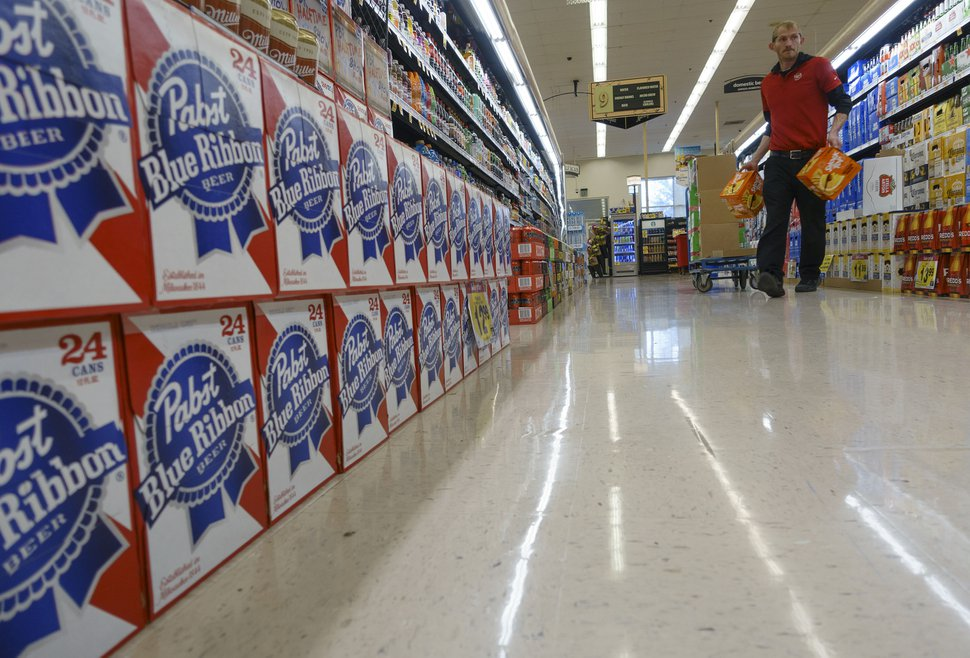 (Trent Nelson | The Salt Lake Tribune) 3.2 beer on the shelves at Smith's Grocery in Salt Lake City, Friday, January 26, 2018. The selection of 3.2 percent beer in Utah grocery and convenience stores is expected to decline — as much as 40 percent — later this year. The beer industry want the Utah Legislature to change state law to allow beer that is 4.8 percent alcohol in stores. However, according to a new Salt Lake Tribune poll, Utah residents on split on the issue, with the majority of Republicans and active Mormons opposing the idea.