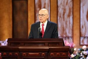 (Photo courtesy of The Church of Jesus Christ of Latter-day Saints) President Dallin H. Oaks, first counselor in the governing First Presidency, speaks at General Conference about the U.S. Constitution on Easter Sunday, April 4, 2021.