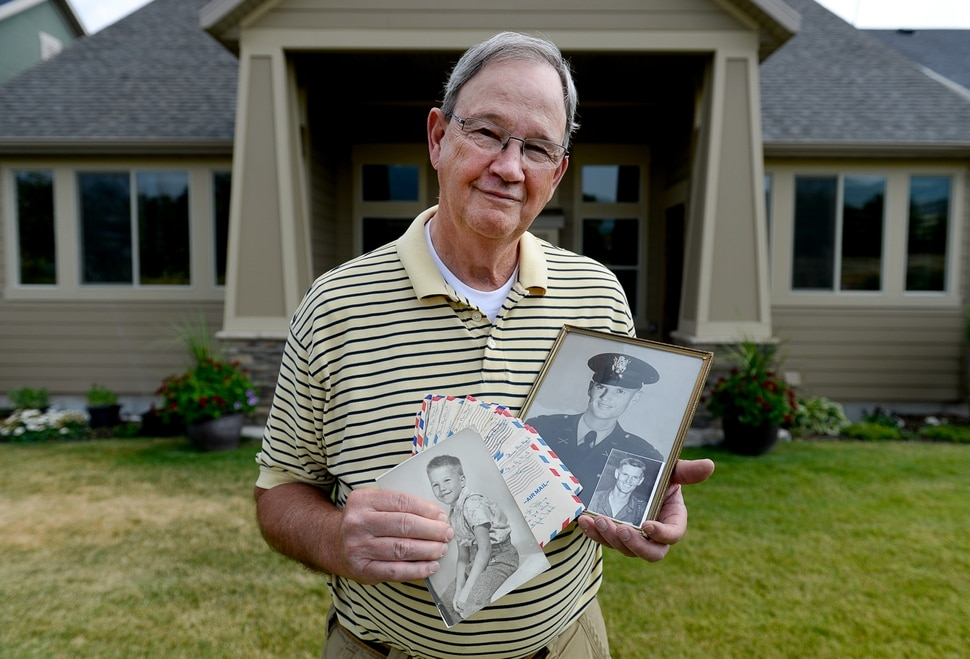(Francisco Kjolseth | The Salt Lake Tribune) Michael Bliss' father, Army 1st Lt. Clarence Bruce Bliss, went missing in action in 1952 during the Korean War when the younger Bliss was 3 years old. Now the 70-year-old resident of Midway, UT, holding photos of himself and his father along with correspondence his parents exchanged, hopes the remains the North Korean government recently provided to the United States includes his father.