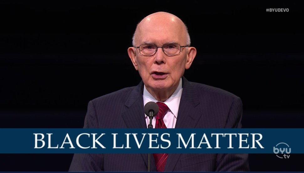 (Screengrab from BYUtv) Apostle Dallin H. Oaks addressed racism and Black lives matter at a Brigham Young University address on Tuesday, Oct. 27, 2020.