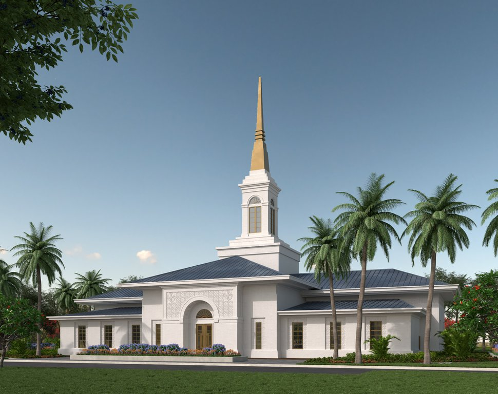 (Rendering courtesy of The Church of Jesus Christ of Latter-day Saints) Rendering of the Neiafu Tonga Temple.