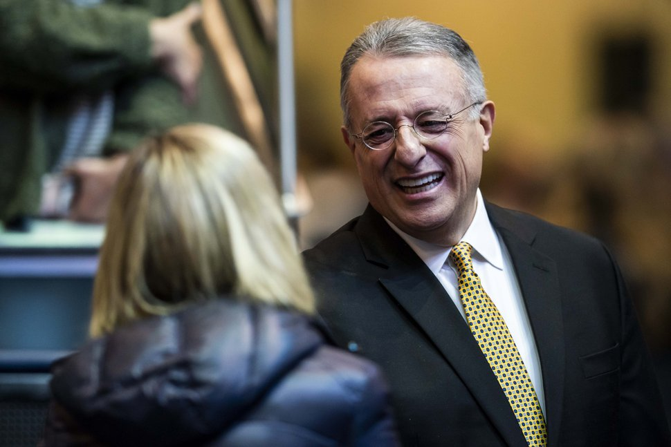 (Photo courtesy of The Church of Jesus Christ of Latter-day Saints) Elder Ulisses Soares of the Quorum of the Twelve Apostles visits with a Brigham Young University student in Provo on Tuesday, Feb. 5, 2019. He spoke at a devotional in the Marriott Center.