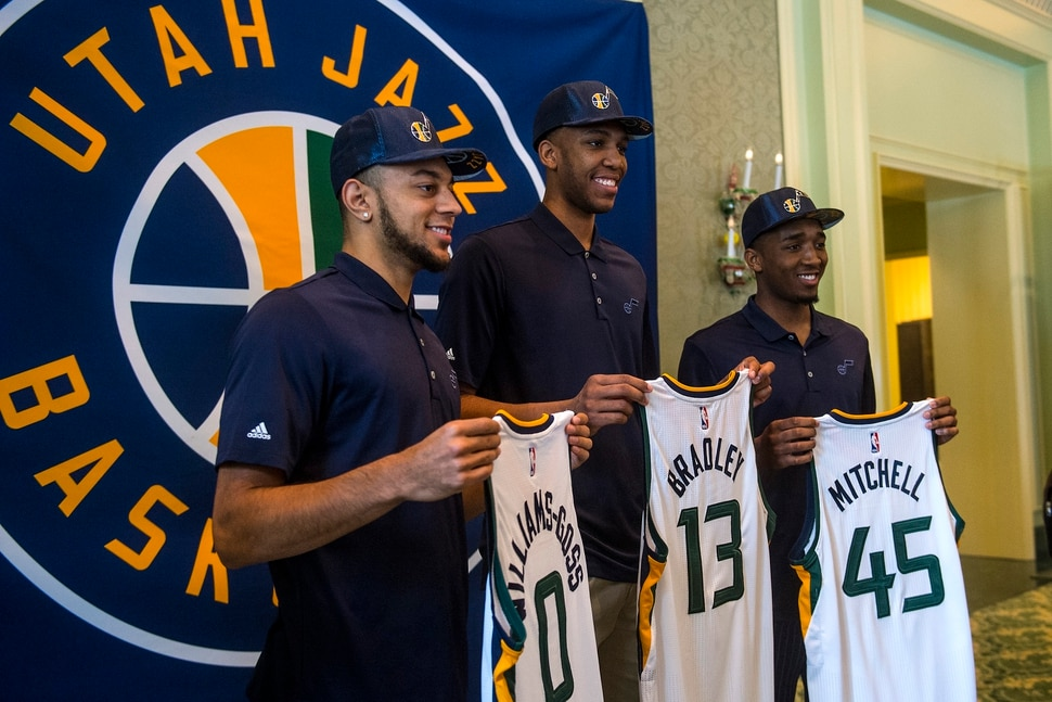 Chris Detrick | The Salt Lake Tribune Utah Jazz's Nigel Williams-Goss, Tony Bradley and Donovan Mitchell pose for photos at The Grand America Hotel Wednesday, June 28, 2017.