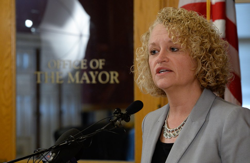 (Francisco Kjolseth | The Salt Lake Tribune) Mayor Jackie Biskupski holds a press conference at the City County building on Tuesday, Feb. 27, 2018.