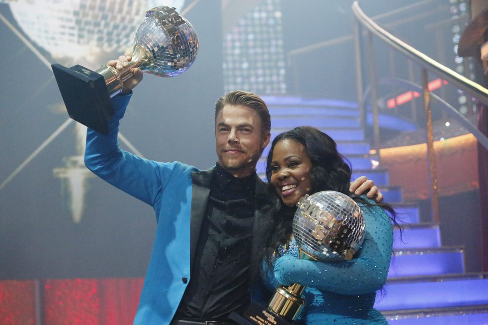 (Photo courtesy of Kelsey McNeal/ABC) Derek Hough and Amber Riley were crowned champions and awarded the coveted Mirror Ball Trophy on the Season 17 finale of