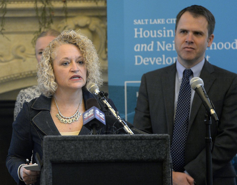 "Al Hartmann | The Salt Lake Tribune Mayor Jackie Biskupski, left, and Mike Akerlow, Deputy Director of Community and Neighborhoods speak at announcement of Salt Lake City's first affordable housing plan in 16 years, ""Growing SLC: A Five-Year Plan 2017 – 2021."" The plan is designed to fundamentally shift the way housing is done in Salt Lake City, strategically addressing short- and long-term housing solutions."