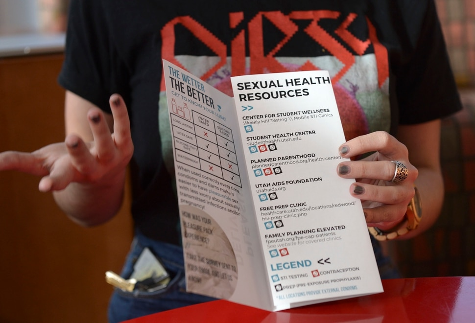 (Leah Hogsten | The Salt Lake Tribune) University of Utah student Grace Mason and health educator Maya Jolley want you to talk about sex. We hope to break down the stigmas, said Mason, Jan 15, 2020, who along with Jolley created The Pleasure Pack discreet delivery and pick-up service to increase access to safer sex supplies and increase sexual and reproductive health knowledge. University of Utah students can customize their Pleasure Pack with external or internal condoms, oral dams, and water or silicone-based lubricants.