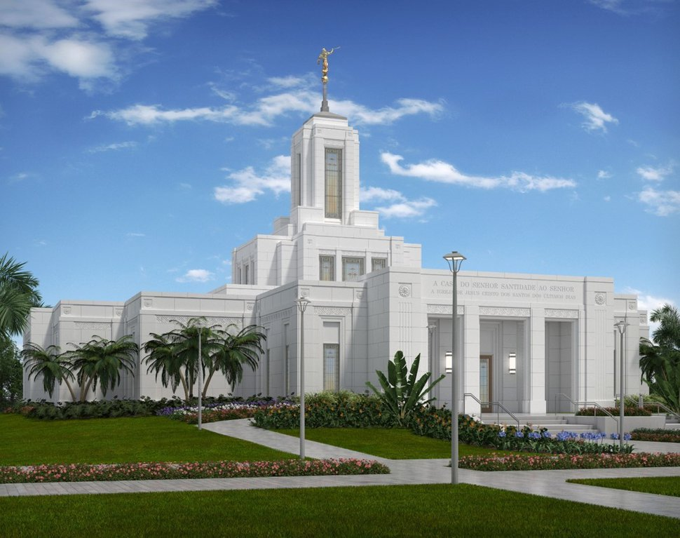 (Photo courtesy of The Church of Jesus Christ of Latter-day Saints) Rendering of the Belém Temple in Brazil.