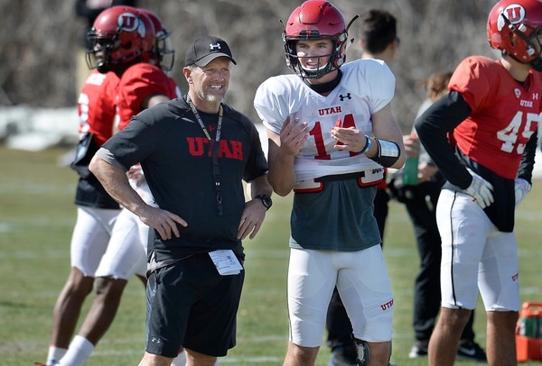 Scott Sommerdorf | The Salt Lake Tribune QB Jack Tuttle talks with head coach Kyle Whittingham at Utah spring football practice, Saturday, March 10, 2018.