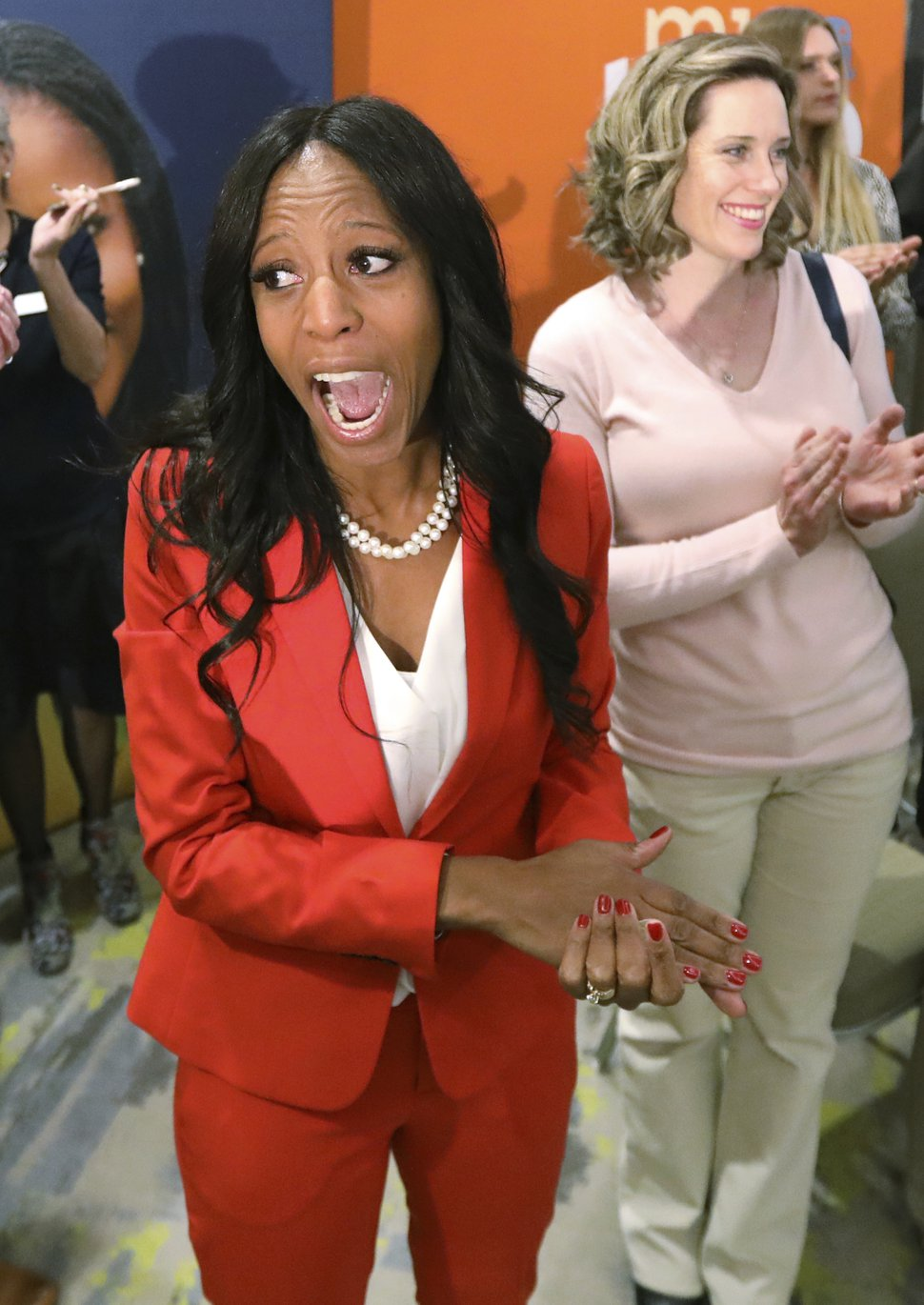 Rep. Mia Love, R-Utah, greets supporters during an election night party Tuesday Nov. 6, 2018, in Lehi, Utah. Love is facing Democrat Ben McAdams in the state's 4th congressional district. (AP Photo/Rick Bowmer)