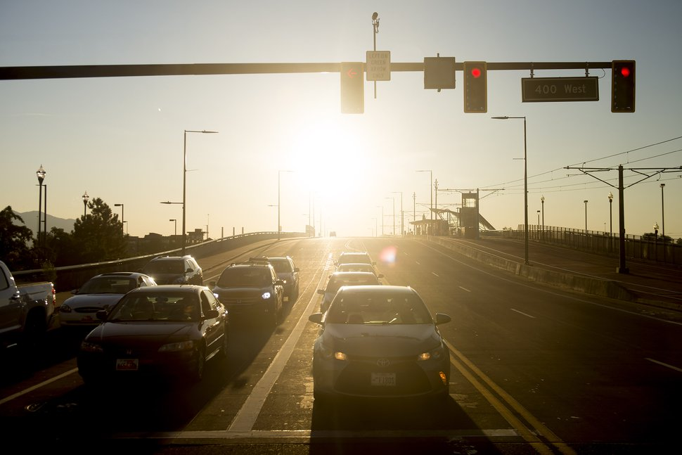 (Jeremy Harmon | Tribune file photo) Traffic waits at a light on the North Temple viaduct in Salt Lake City on Saturday, September 14, 2019.