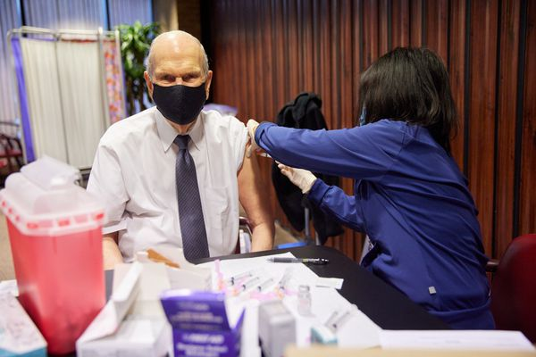 (Photo courtesy of The Church of Jesus Christ of Latter-day Saints) Church President Russell M. Nelson receives the first dose of a COVID-19 vaccine on Tuesday, Jan. 19, 2021, in Salt Lake City.
