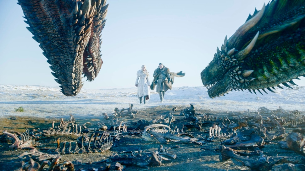 This image released by HBO shows Emilia Clarke, left, and Kit Harington in a scene from the final episode of Game of Thrones. (HBO via AP)
