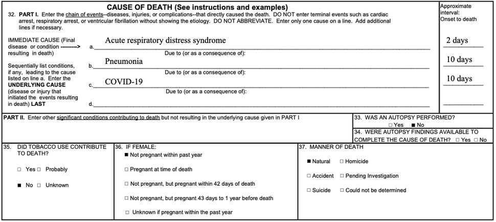 One CDC example of a COVID-19 death certificate. (https://www.cdc.gov/nchs/data/nvss/vsrg/vsrg03-508.pdf)