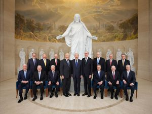 (Photo courtesy of The Church of Jesus Christ of Latter-day Saints) The First Presidency and Quorum of the Twelve Apostles in the Rome Italy Temple Visitors' Center in 2019. A new blog explores what each apostle would be like if he became the church president.
