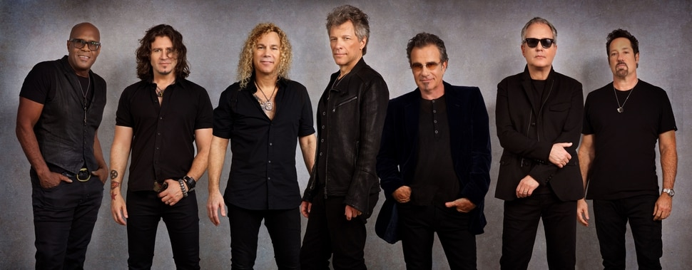 (Photo courtesy of David Bergman) The touring lineup of rock band Bon Jovi now features (from left): percussionist Everett Bradley, guitarist Phil X, keyboardist David Bryan, vocalist Jon Bon Jovi, drummer Tico Torres, bassist Hugh McDonald, and guitarist John Shanks.