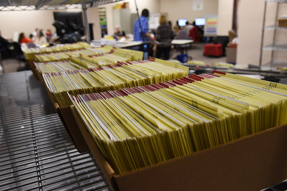 (Francisco Kjolseth | Tribune) By mail ballots wait to be counted.