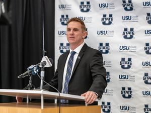 Courtesy of Wade Denniston, Utah State University Blake Anderson speaks at a ceremony in Logan on Monday, Dec. 14, 2020  officially introducing him as Utah State University's 29th head football coach.