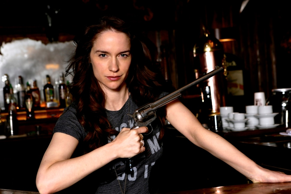 """(Photo courtesy of Michelle Faye/Syfy) Melanie Scrofano stars as the title character in """"Wynonna Earp."""""""